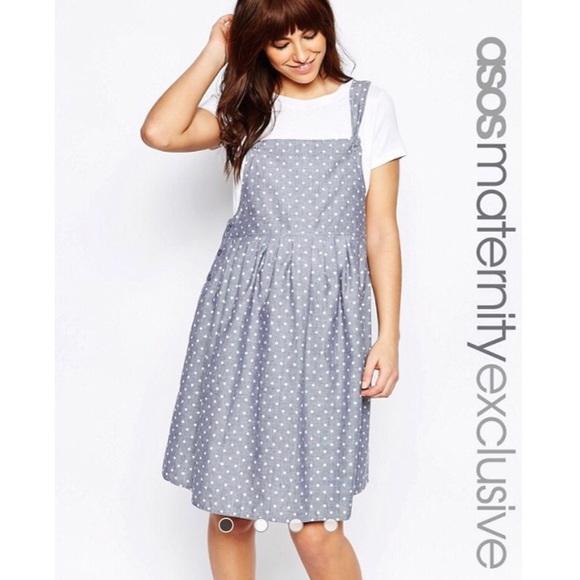 56ec644389 ASOS Maternity Dresses   Skirts - ASOS Maternity Polka Dot Pinafore Dress  Size 6